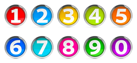 Color icons numbers set isolated on white background, three-dimensional rendering Stock Photo