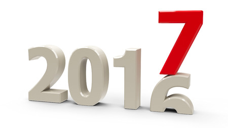 turns of the year: 2016-2017 change represents the new year 2017, three-dimensional rendering