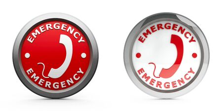 circle icon: Web buttons emergency isolated on white background, three-dimensional rendering