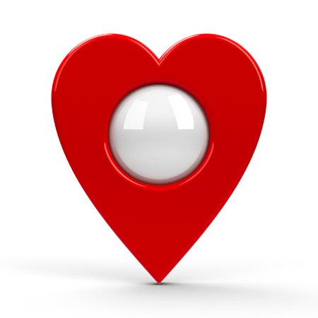 blank center: Red heart map pointer with blank center isolated on white background, three-dimensional rendering