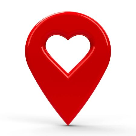 position d amour: Red map pointer with heart isolated on white background, three-dimensional rendering Banque d'images
