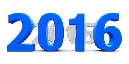 turns of the year: Blue 2016 come represents the new year 2016, three-dimensional rendering Stock Photo