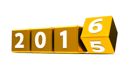 turns of the year: Gold cubes with 2015-2016 change on a white table represents the new 2016, three-dimensional rendering Stock Photo