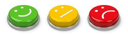 botones positivos, neutros y negativos aislados en fondo blanco, representación tridimensional