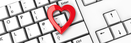 Heart icon on the computer keyboard background, three-dimensional rendering