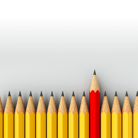 standout: Red pencil among yellow - conceptual image of the individuality, three-dimensional rendering