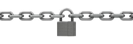 unbreakable: Chain with lock - security concept, three-dimensional rendering Stock Photo