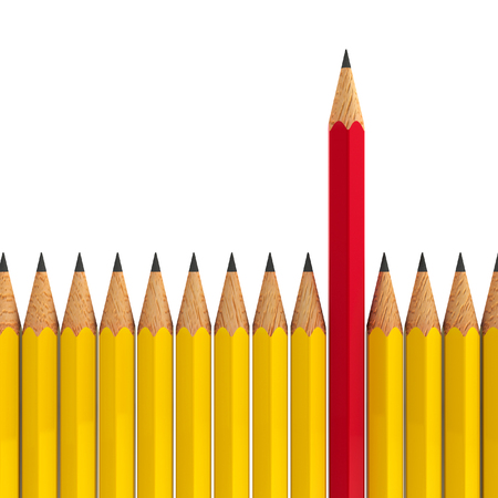 red pencil: Red pencil among yellow - conceptual image of the individuality, three-dimensional rendering