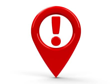 red sign: Red map pointer attention isolated on white background, three-dimensional rendering Stock Photo