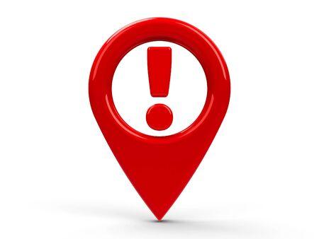 marker: un mapa Red atención puntero aislado en el fondo blanco, representación tridimensional
