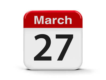 seventh: Calendar web button - Twenty seventh of March - Easter day 2016, three-dimensional rendering Stock Photo