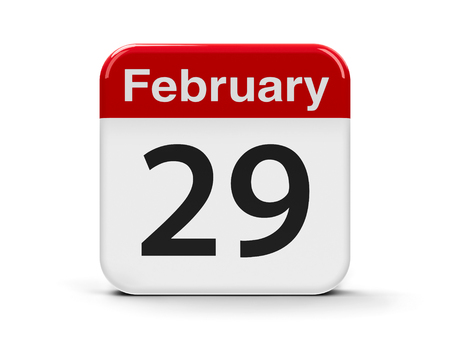 ninth: Calendar web button - The twenty ninth of February, three-dimensional rendering