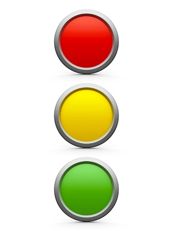 Web buttons red, yellow and green isolated on white background, three-dimensional rendering Banco de Imagens