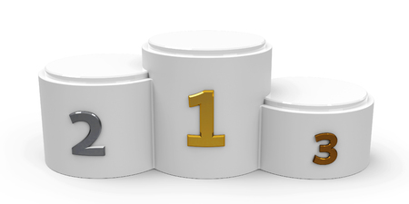 White cylinder podium with three rank places, three-dimensional rendering