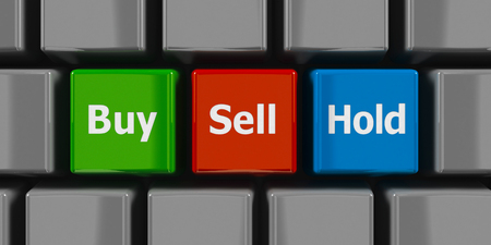 buy sell: Computer keyboard with buy, sell and hold keys, three-dimensional rendering