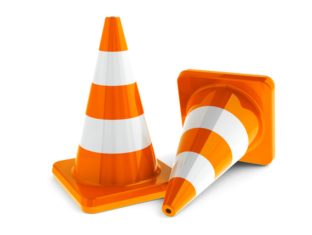 cone: Orange traffic cones on a white table represents work in progress, three-dimensional rendering Stock Photo