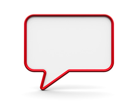 Red blank speech bubble on a white background, three-dimensional rendering