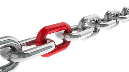 particular: Chain with red link - concept particular person, three-dimensional rendering Stock Photo