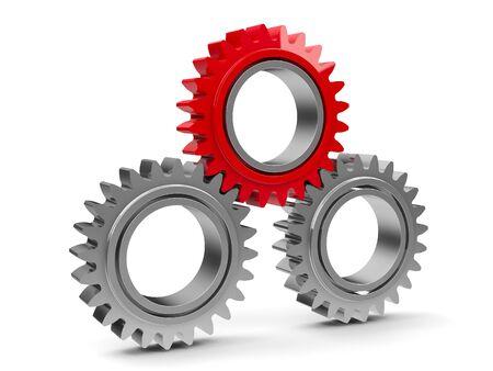 cromo: Tres engranajes con engranajes de color rojo - concepto de equipo de cooperación, representación tridimensional Foto de archivo