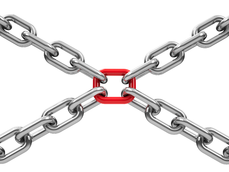 unbreakable: Chains with red link, three-dimensional rendering