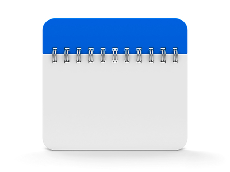 Blank calendar icon with spiral, three-dimensional rendering