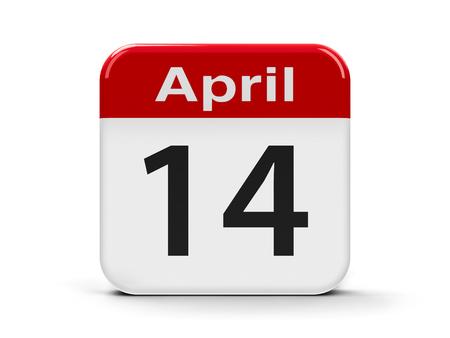 fourteenth: Calendar web button - Fourteenth of April, three-dimensional rendering