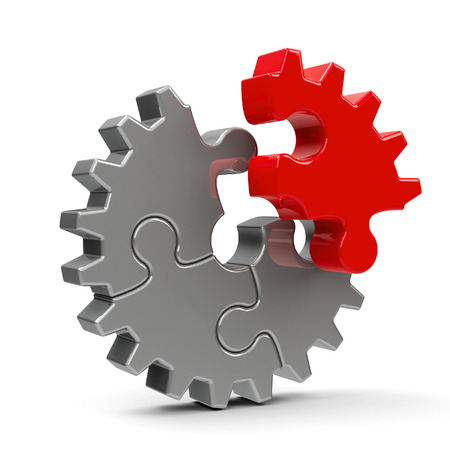 Metal puzzle gears isolated on a white background - team cooperation concept, three-dimensional rendering