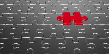 pièces métalliques de puzzle avec une pièce rouge - notion personne en particulier, rendu tridimensionnel
