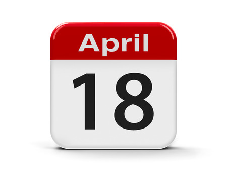 web sites: Calendar web button - Eighteenth of April - World Amateur Radio Day and International Day for Monuments and Sites, three-dimensional rendering
