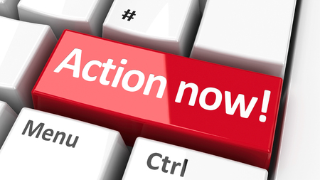 Action now! key on the computer keyboard - call to urgent action, three-dimensional rendering