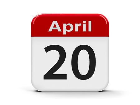 twentieth: Calendar web button - Twentieth of April, three-dimensional rendering