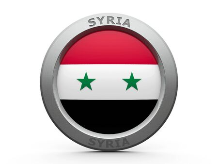 two dimensional shape: Emblem - Flag of Syria - isolated on white, three-dimensional rendering Stock Photo