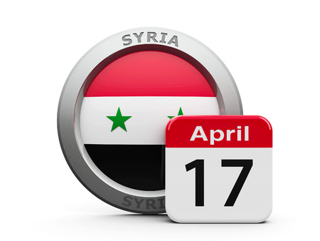 seventeenth: Emblem of Syria with calendar button - Seventeenth of April - represents the Syria independence day, three-dimensional rendering