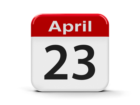 20 23 years: Calendar web button - Twenty Third of April - World Book and Copyright Day, and English Day, three-dimensional rendering Stock Photo