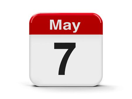seventh: Calendar web button - The Seventh of May, three-dimensional rendering, 3D illustration Stock Photo