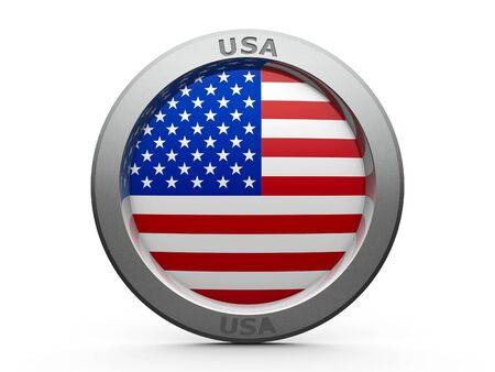 governmental: Emblem - Flag of USA - isolated on white, three-dimensional rendering, 3D illustration