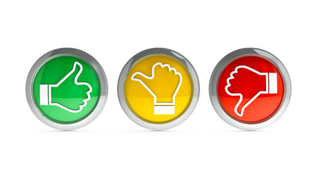 Positiv, neutral und negativ Symbole auf weißem Hintergrund - stellt die Kundenzufriedenheit und Feedback, dreidimensionale Wiedergabe, 3D-Darstellung Standard-Bild