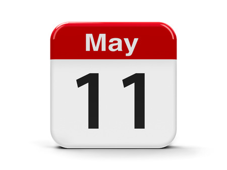 number eleven: Calendar web button - The Eleventh of May, three-dimensional rendering, 3D illustration Stock Photo