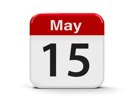 conscientious: Calendar web button - The Fifteenth of May - International Day of Families and The International Conscientious Objectors Day Stock Photo