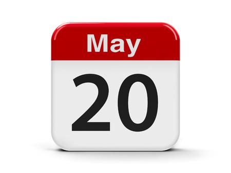 metrology: Calendar web button - The Twentieth of May - World Metrology Day, three-dimensional rendering, 3D illustration