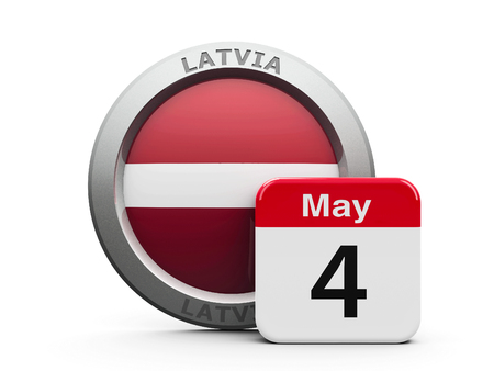 carmine: Emblem of Latvia with calendar button - Fourth of May - represents the Latvia independence day, three-dimensional rendering, 3D illustration