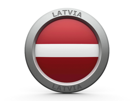 governmental: Emblem - Flag of Latvia - isolated on white, three-dimensional rendering, 3D illustration Stock Photo