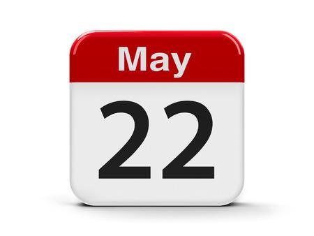 twenty second: Calendar web button - The Twenty Second of May - International Day for Biological Diversity, three-dimensional rendering, 3D illustration