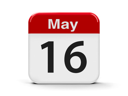 biographer: Calendar web button - The Sixteenth of May, three-dimensional rendering, 3D illustration