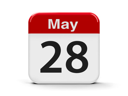 eighth: Calendar web button - The Twenty Eighth of May, three-dimensional rendering, 3D illustration