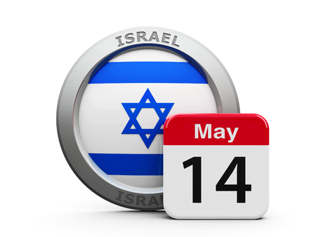fourteenth: Emblem of Israel with calendar button - The Fourteenth of May - represents the Israel independence day, three-dimensional rendering, 3D illustration Stock Photo