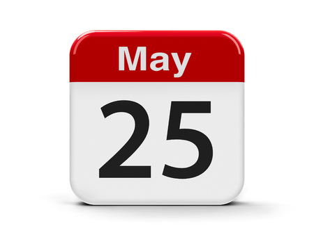 twenty fifth: Calendar web button - The Twenty Fifth of May - International Missing Children Day, World Thyroid Day and Africa Day, three-dimensional rendering, 3D illustration Stock Photo