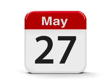 seventh: Calendar web button - The Twenty Seventh of May, three-dimensional rendering, 3D illustration