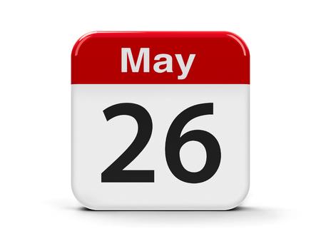 twenty sixth: Calendar web button - The Twenty Sixth of May, three-dimensional rendering, 3D illustration