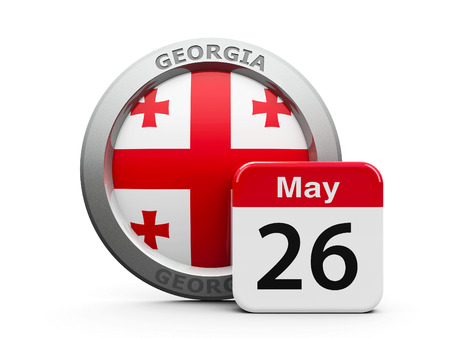 twenty sixth: Emblem of Georgia with calendar button - The Twenty Sixth of May - represents the Georgia independence day, three-dimensional rendering, 3D illustration